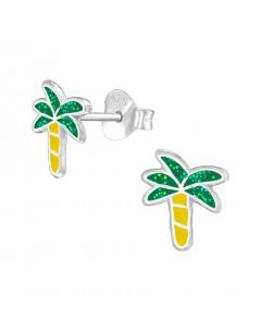 Mon-bijou - H38670 - Boucle d'oreille palmier en argent 925/1000