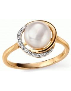 Mon-bijou - D503a - Bague perle et diamants en or 375/1000