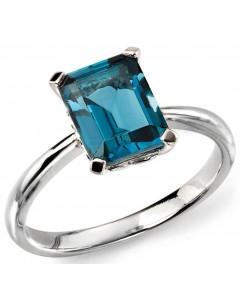 Mon-bijou - D504a - Bague topaze bleu en or blanc 375/1000