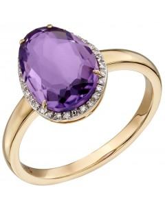 Mon-bijou - D558a - Bague améthyste et diamant en or 375/1000