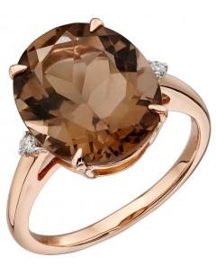 Mon-bijou - D559 - Bague quartz fumé et diamant en or rose 375/1000