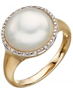 Mon-bijou - D560 - Bague perle et diamant en or 375/1000