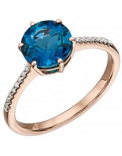 Mon-bijou - D561 - Bague topaze bleue en or 375/1000