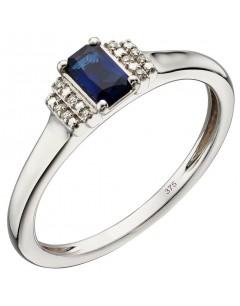Mon-bijou - D566 - Bague saphir et diamant en or blanc 375/1000