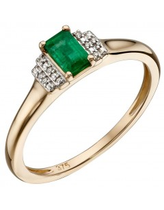 Mon-bijou - D568 - Bague emeraude et diamant en or 375/1000