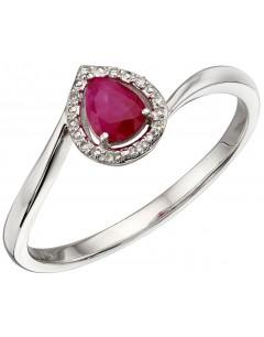 Mon-bijou - D568a - Bague rubis et diamant en or blanc 375/1000