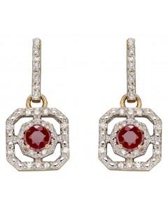 Mon-bijou - D2359 - Boucle d'oreille rubis et diamant sur or blanc 375/1000