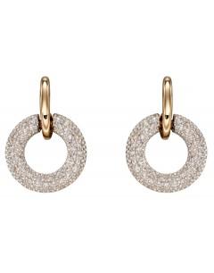 Mon-bijou - D2360 - Boucle d'oreille diamant sur or blanc et jaune 375/1000