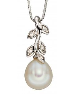 Mon-bijou - D2238 - Collier perle et diamant sur or blanc 375/1000
