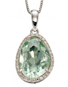 Mon-bijou - D2239 - Collier fluorite et diamant sur or blanc 375/1000