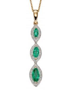 Mon-bijou - D2240 - Collier emeraude et diamant sur or jaune 375/1000