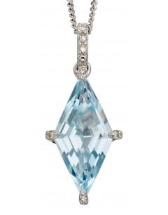 Mon-bijou - D2241 - Collier topaze bleue et diamant sur or blanc 375/1000