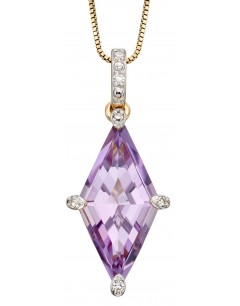 Mon-bijou - D2242 - Collier améthyste et diamant sur or jaune 375/1000