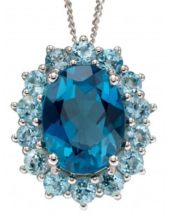 Mon-bijou - D2243 - Collier topaze bleue sur or blanc 375/1000