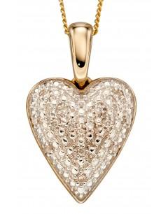 Mon-bijou - D2254a - Collier coeur de diamant sur or jaune 375/1000