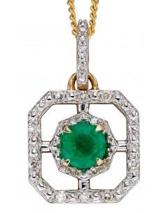 Mon-bijou - D2255 - Collier emeraude et diamant sur or blanc 375/1000