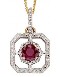 Mon-bijou - D2256 - Collier rubis et diamant sur or blanc 375/1000
