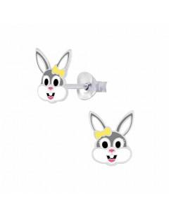 Mon-bijou - FF7285 - Boucle d'oreille lapin jaune et gris en argent 925/1000
