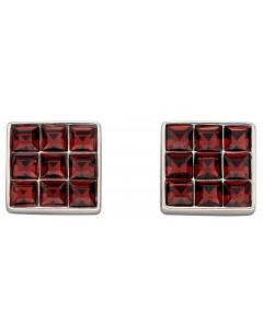 Mon-bijou - D5886 - Boucle d'oreille cristal bordeaux en argent 925/1000