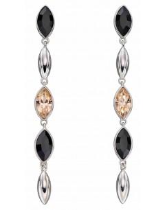 Mon-bijou - D5896 - Boucle d'oreille cristal noir et pêche en argent 925/1000