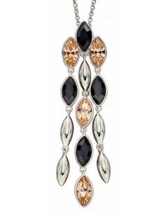 Mon-bijou - D4910a - Collier cristal pêche et noir en argent 925/1000