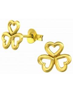 Mon-bijou - H21447 - Boucle d'oreille tréfle dorée en argent 925/1000