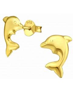 Mon-bijou - H31794 - Boucle d'oreille dauphin dorée en argent 925/1000