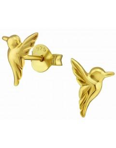 Mon-bijou - H31804 - Boucle d'oreille colibri dorée en argent 925/1000