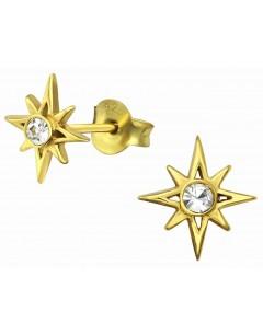 Mon-bijou - H34934 - Boucle d'oreille étoile dorée en argent 925/1000