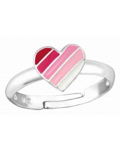 Mon-bijou - H35320 - Bague coeur rose ajustable en argent 925/1000