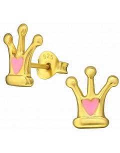 Mon-bijou - H35392 - Boucle d'oreille princesse dorée en argent 925/1000