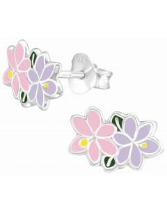 Mon-bijou - H37487 - Boucle d'oreille rose et violette en argent 925/1000