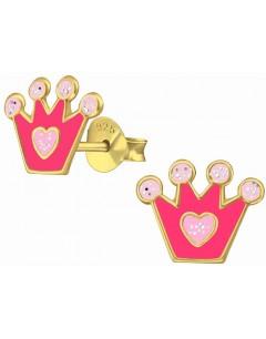 Mon-bijou - H38159 - Boucle d'oreille princesse cour rose dorée en argent 925/1000