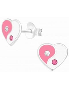 Mon-bijou - H39016 - Boucle d'oreille coeur rose et blanc en argent 925/1000