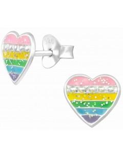 Mon-bijou - H39457 - Boucle d'oreille coeur arc en ciel en argent 925/1000