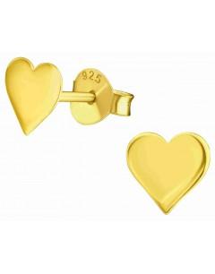 Mon-bijou - H39854 - Boucle d'oreille coeur dorée en argent 925/1000