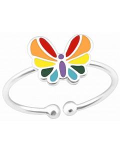 Mon-bijou - H39895 - Bague papillon arc en ciel ajustable en argent 925/1000