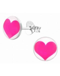 Mon-bijou - H19794 - Boucle d'oreille coeur rose en argent 925/1000
