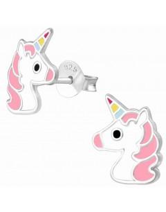 Mon-bijou - H34358 - Boucle d'oreille licorne rose en argent 925/1000