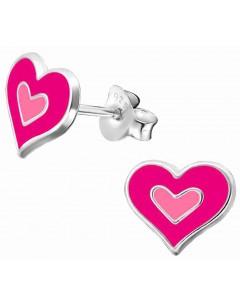 Mon-bijou - H36545 - Boucle d'oreille coeur rose en argent 925/1000
