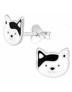 Mon-bijou - H39086 - Boucle d'oreille chat blanc et noir en argent 925/1000