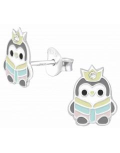Mon-bijou - H39143 - Boucle d'oreille pingouin passion lecture en argent 925/1000