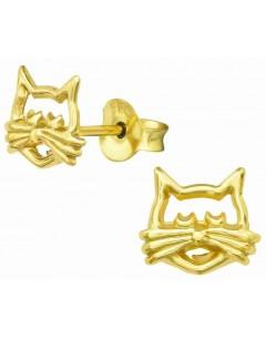 Mon-bijou - H39189 - Boucle d'oreille Monsieur chat moustache dorée en argent 925/1000
