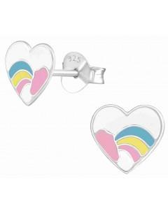 Mon-bijou - H39393 - Boucle d'oreille coeur d'arc en ciel en argent 925/1000