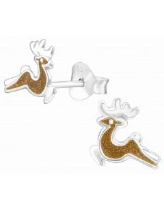 Mon-bijou - H39931 - Boucle d'oreille cerf en argent 925/1000
