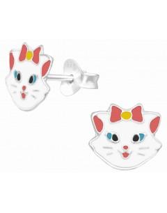Mon-bijou - H40323 - Boucle d'oreille chat joyeux en argent 925/1000