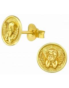 Mon-bijou - H39957 - Boucle d'oreille ange doré en argent 925/1000