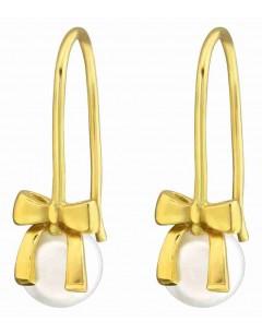 Mon-bijou - H37501 - Boucle d'oreille noeud cadeaux doré en argent 925/1000