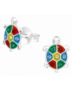 Mon-bijou - H40331 - Boucle d'oreille tortue multi-color en argent 925/1000