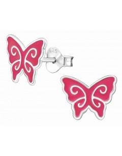 Mon-bijou - H12440 - Boucle d'oreille papillon rose en argent 925/1000